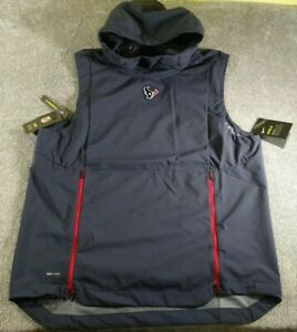 Details about $150 NWT NFL Houston Texans Nike Dri Fit Shield Sleeveless Hoodie Vest! Sz Large
