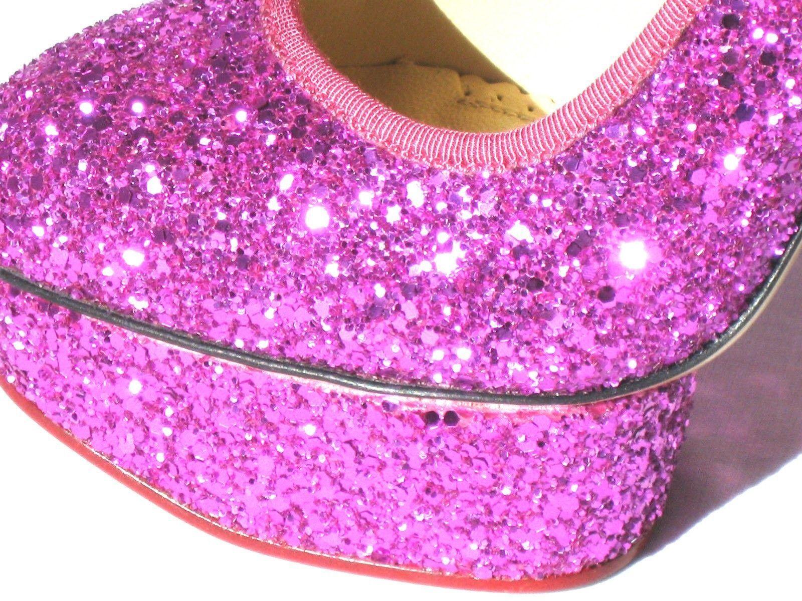 945 New Charlotte Olympia Rosa FUCHSIA Glitter PRISCILLA Platform Pump schuhe 38 6ab5b7