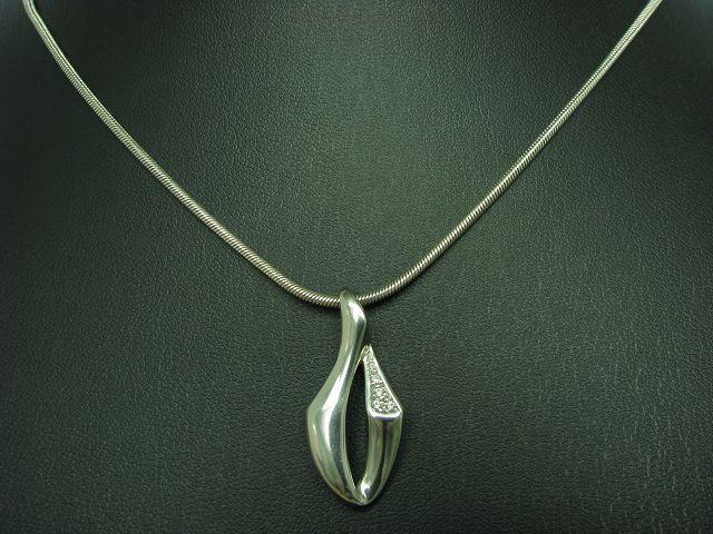 925 Sterling silver Kette & Anhänger mit Zirkonia Besatz   Echtsilver   45,2cm
