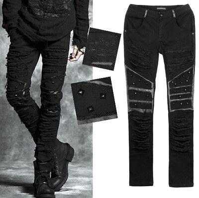 Frugale Pantalon Jeans Gothique Punk Fashion Déchiré Destroy Clous Cuir Punkrave Homme Ricambio Senza Costi A Qualsiasi Costo
