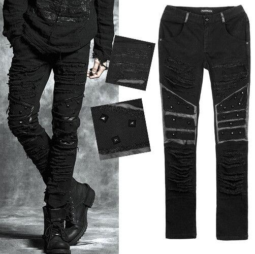 Gothique Déchiré Punk Rave K179 Xl Homme Pantalon Noir Tube lJcTFK13