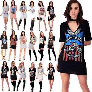 8f9c8b9525d1 Womens Ladies Rock American Choker Neck Party Mini Tunic Longline T ...