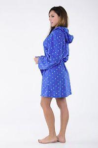 Ladies-Robe-Plush-Hoodie-Robe-Plush-Robe-Short-Hooded-Spa-Bathrobe-Women-039-s-Robe