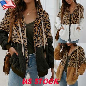 Women Hoodie Leopard Print Zip Up Sweatshirt Coat Lady Drawstring Jacket Outwear