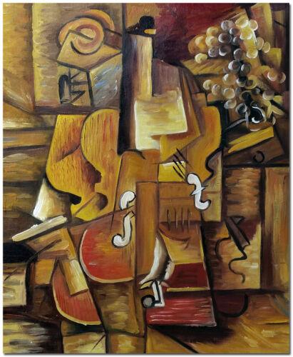 Hand Painted Picasso Oil Painting Wall Art 60x50cm 1912 Violon et raisin