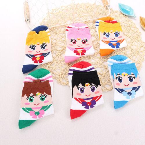 6 Pairs Anime Sailor Moon Luna Cosplay Lolita Cute Socks Soft Breathable Socks