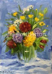 Print-of-Original-oil-painting-art-Vase-peonies-Impressionism-shabby-chic-decor