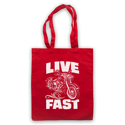 LIVE FAST MOTORBIKE MOTORCYCLE RIDER LOVE BIKE BIKER SHOULDER TOTE SHOP BAG