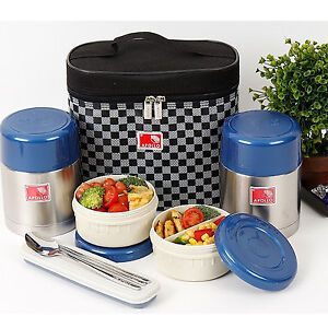 ea85594eac36 Details about Stainless Steel Thermal Bento Box Sealed Lunch Box set  Insulated Bag 450ml+450ml