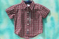 Infant Old Navy Baby Front Button Red Plaid Shirt 100% Cotton, Free Ship