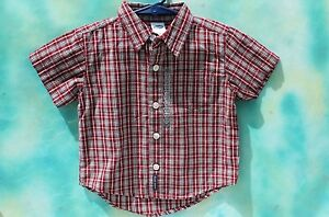 55b2333fb36e Infant Old Navy BABY Front Button Red Plaid Shirt 100% Cotton