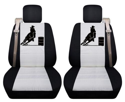Fits Chevy trailblazer front car seat cover black-white w//barrel racing//fleur...