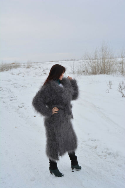 Luxury hand knit Russian Cashmere Longhair Angora Shawl 100/% Goat down Fluff