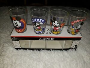 Disney Mickey Mouse Glassware Set of 4 1.5oz New In Box.