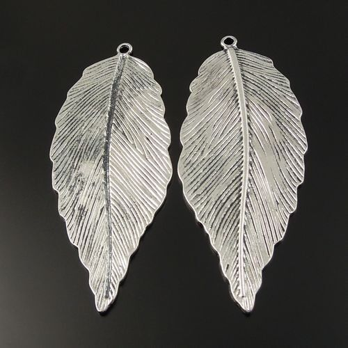 33185 Antiqued Silver Tone Vintage Alloy Large Leaf Pendant Charms 68*30mm 9pcs