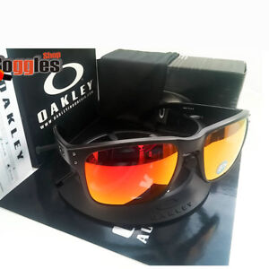 7233137516c Image is loading Oakley-Holbrook-Sunglasses-Matte-Black-Ruby-Iridium- Polarized-