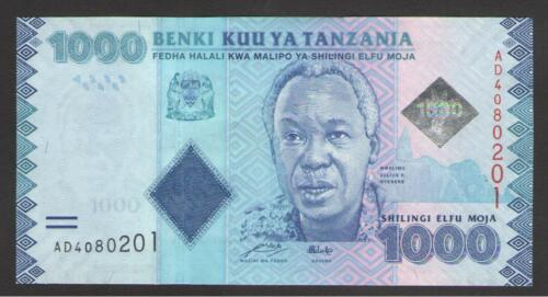 Prefix AD  P 41a  Uncirculated Banknotes TANZANIA 1000  SHILLINGS  2010 2011