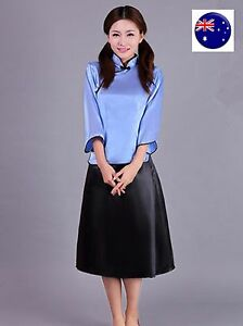 Women Chinese China Asian Student Tops skirt Party Cosplay Halloween Costume