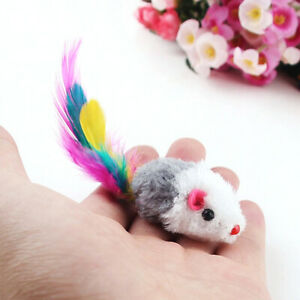 1-12PCS Feather Tail Plush Mini Simulation Mouse Funny Toy Interactive Play J7B5