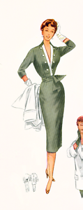 1950 Vintage Sewing Pattern Wiggle Sheath Dress 8 10 12 VTG