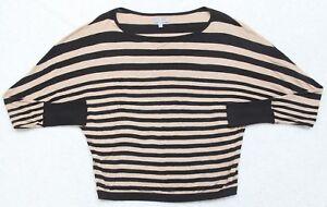 Olivia-Sky-Shirt-Long-Sleeve-Women-039-s-Size-Small-Black-Beige-Striped-Top-Cotton