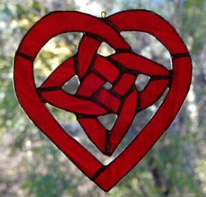 Ruby Red Celtic Love Knot Stained Glass Heart Suncatcher Or Garden Decoration Ebay