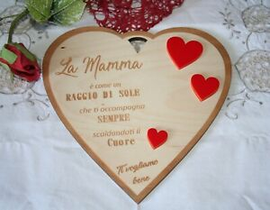 Targa A Forma Di Cuore Regalo Festa Della Mamma Compleanno Ebay