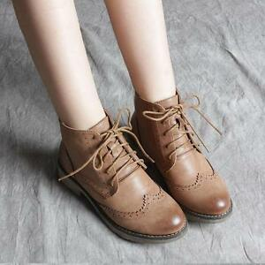 d4ac1f728193c Image is loading Retro-Womens-oxfords-brogue-Wingtip-Carved-ankle-Boots-