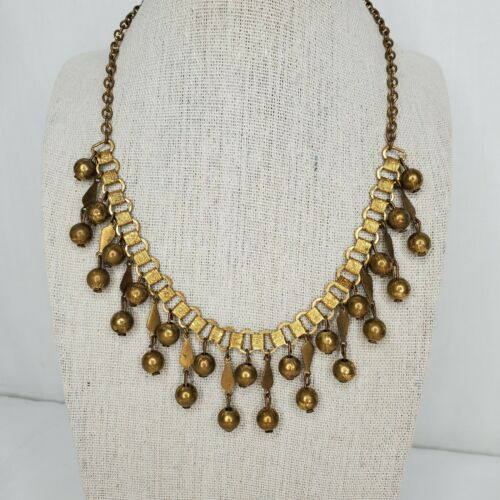 Art Deco Choker Necklace Book Chain Bugle Beads Faux Pearls Fringe Waterfall