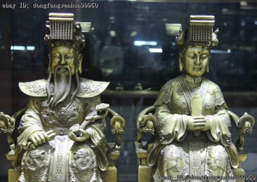 Brass WangMu Queen Jade Emperor Yu Di Hold Ruyi On Dragon Phoenix Chair Statue