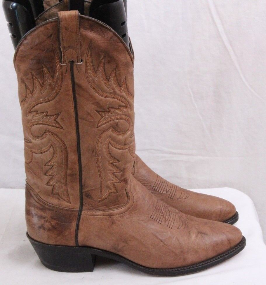 Abilene Boots 6075 Brown Leather Pull On Marbled Western Cowboy Boots Men's 8