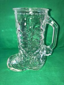 """Vintage 16 oz. Clear Glass Western Cowboy Boot Beer Mug Made in Mexico 6.5"""""""