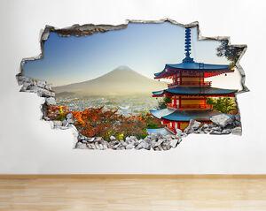 Image is loading H415-Japanese-Castle-Mount-Fuji-Smashed-Wall-Decal-  sc 1 st  eBay & H415 Japanese Castle Mount Fuji Smashed Wall Decal 3D Art Stickers ...
