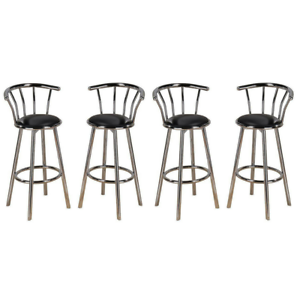Super Details About New Indoor Set Of 4 Chrome Swivel Black Vinyl Seat Pub Bar Stools Chair Barstool Caraccident5 Cool Chair Designs And Ideas Caraccident5Info