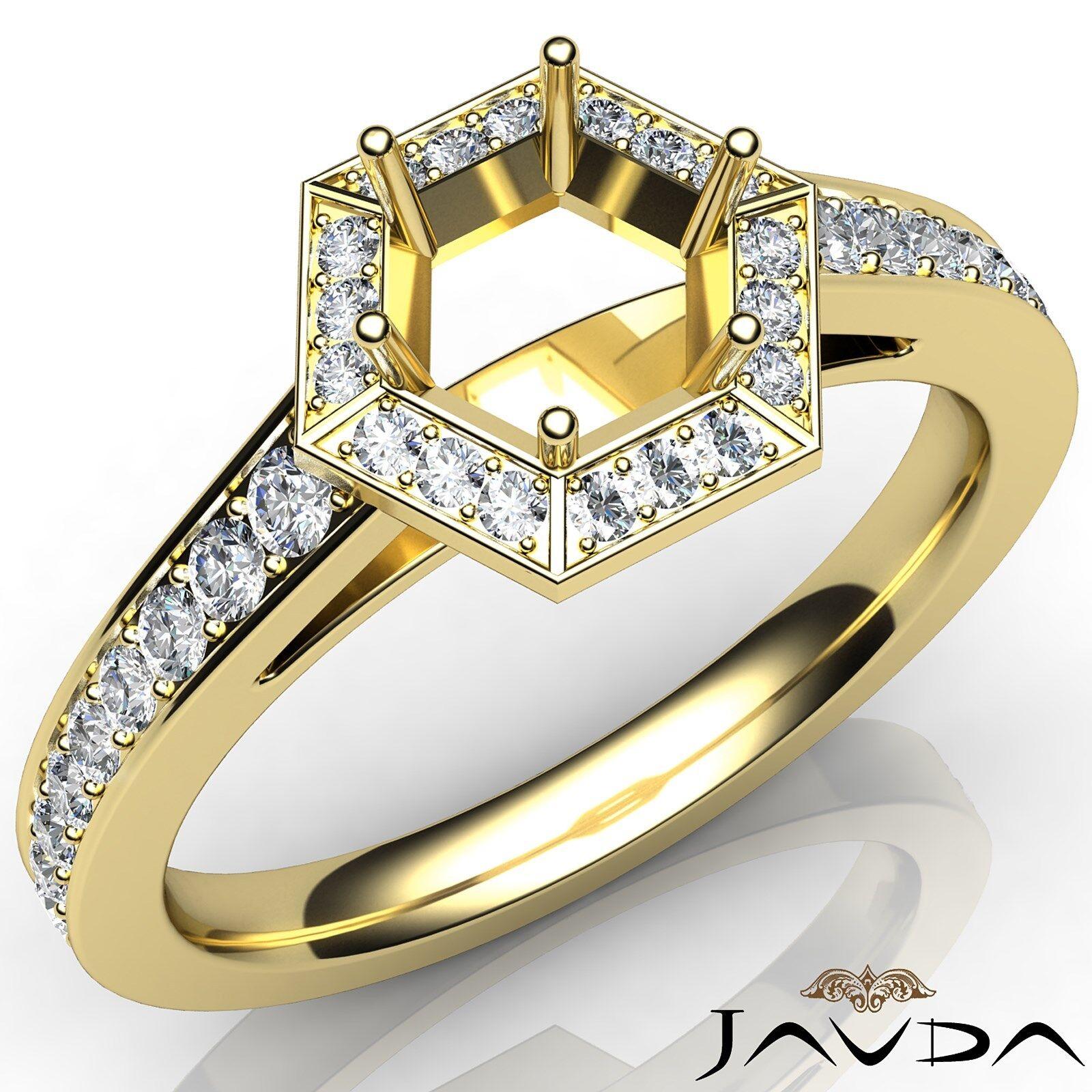 1b0845864 Hexagon Pave Set 18k Yellow gold 0.5Ct Diamond Engagement Round Semi Mount  Ring