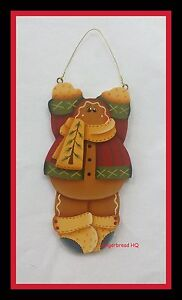 Details About Hp Hanging Gingerbread Man Wooden Christmas Orrnament Hand Painted Holidays