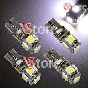 4-LED-T10-Lampade-5SMD-No-Errore-BIANCO-Xenon-CANBUS-Per-Targa-Posizione-Luci-5W