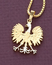 "Polish Eagle Pendant & Necklace, 14 K Gold and Rhodium plated, 1"" Dia. ( # 256 )"