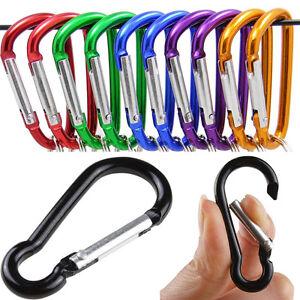10x D-Ring Key Aluminum Carabiner Keyring Chain Snap Hook Clip Karabiner Camping