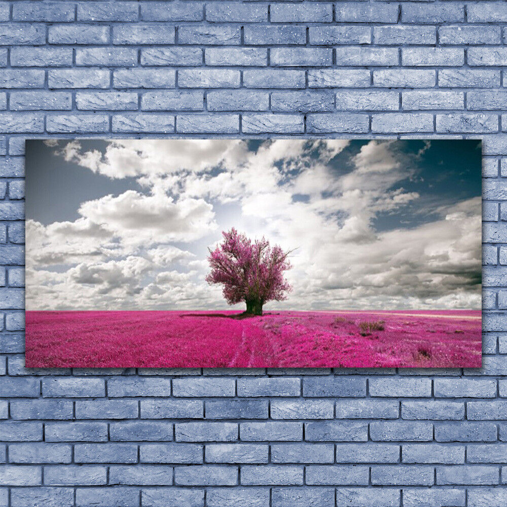 Glass print Wall art 140x70 Image Picture Tree Field Nature