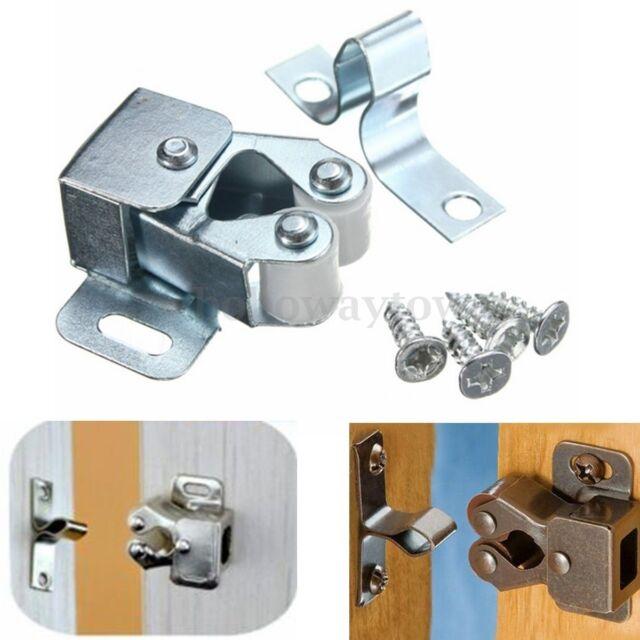 1/10 Roller Catch Silver Cupboard Cabinet Furniture Door Latch Stopper + Screws