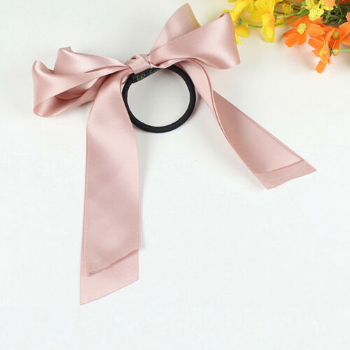 Women Girl Multi Color Satin Ribbon Bow Hair Band Rope Scrunchie Ponytail Holder