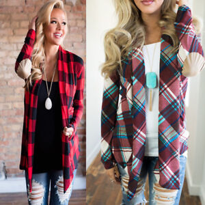 Womens-Flannel-Plaid-Long-Sleeve-Shirts-Casual-Loose-Cardigan-Blouse-Jacket-Tops