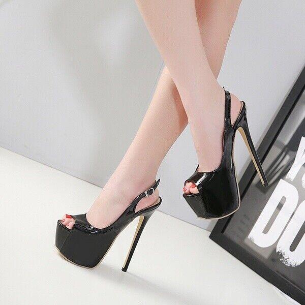Damenschuhe Peeptoe Stiletto Pumps Sandalen Slingbacks Schnalle Super High Heel