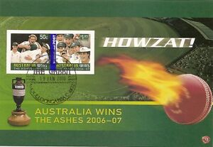 AUSTRALIA-2007-ASHES-VICTORY-Souvenir-Sheet-IMPERF-FINE-USED-GABBA-Postmark