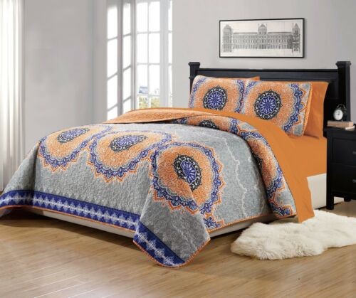 """Fancy Linen Over Sized Quilt And Sheet Set Orange /""""Gray Green/"""" All Sizes New"""