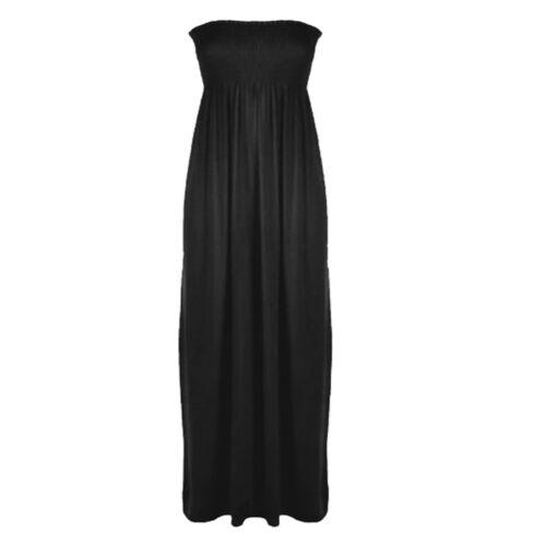 New Ladies Womens Boobtube Sheering Bandeau Strapless Long Maxi Flared Dress
