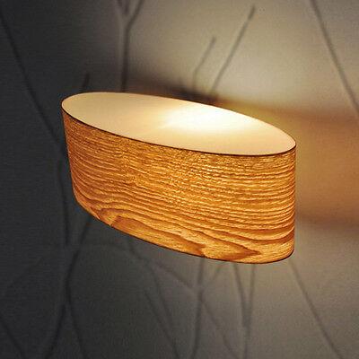 Vintage Retro Style Oval Wood Veneer Up  Down Indoor Wall Light Fittings Lights
