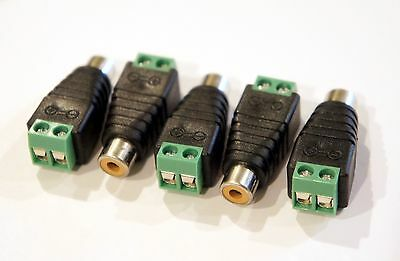 3 Pack of Female RCA socket plugs to bare wire 2 pin screw down terminal