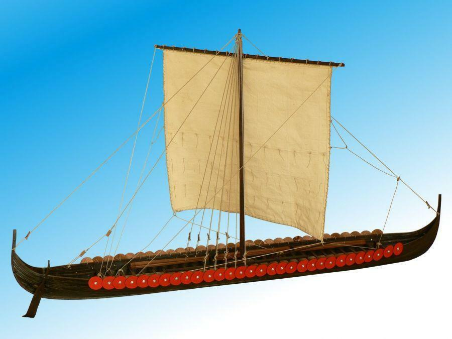 Elegant, Detailed Wooden Model Ship Kit by Dusek  the  Viking Longship